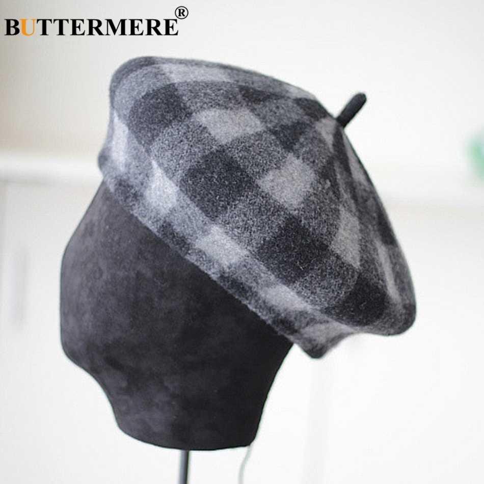 BUTTERMERE шерстяной берет женские фиолетовые кепки твидовые зимние шапки женские клетчатые вязаные винтажные осенне-зимние французский головной убор художника красного цвета