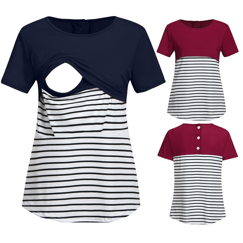 T-Shirt Pregnant-Womens Tops Short-Sleeve Mom Baby Nursing Summer Maternity Stripe  title=