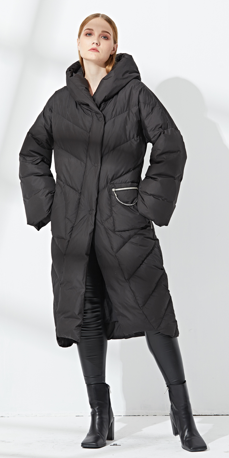 Down   jacket woman hooded for winter loose   down     coat   long   down   jacket woman large size Eva freedom womens   down   jacket brands