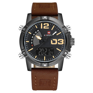 Image 5 - NAVIFORCE Brand Dual Display Watch Men Sport Quartz LED Watches Leather Band Analog Digital Wrist Watches 30M Waterproof Clock