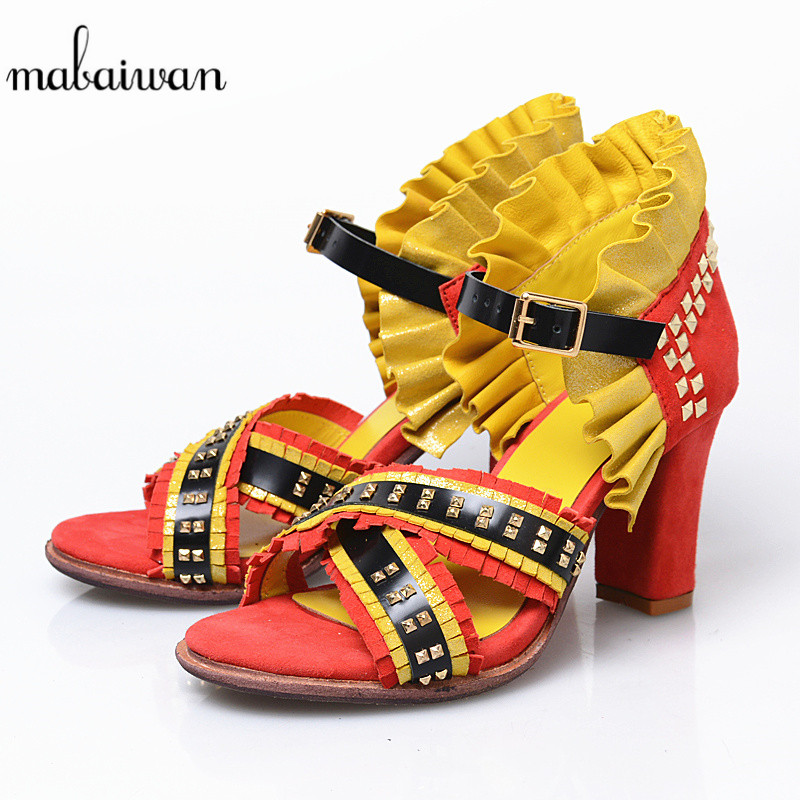 Mabaiwan Fashion Red Summer Women Shoes Genuine Leather Thick High Heels Casual Shoes Woman Sandals Rivet Gladiator Tassel Pumps summer tassel sandals fashion rivet gladiator sandals women flats big size hollow shoes woman casual sandal free shipping