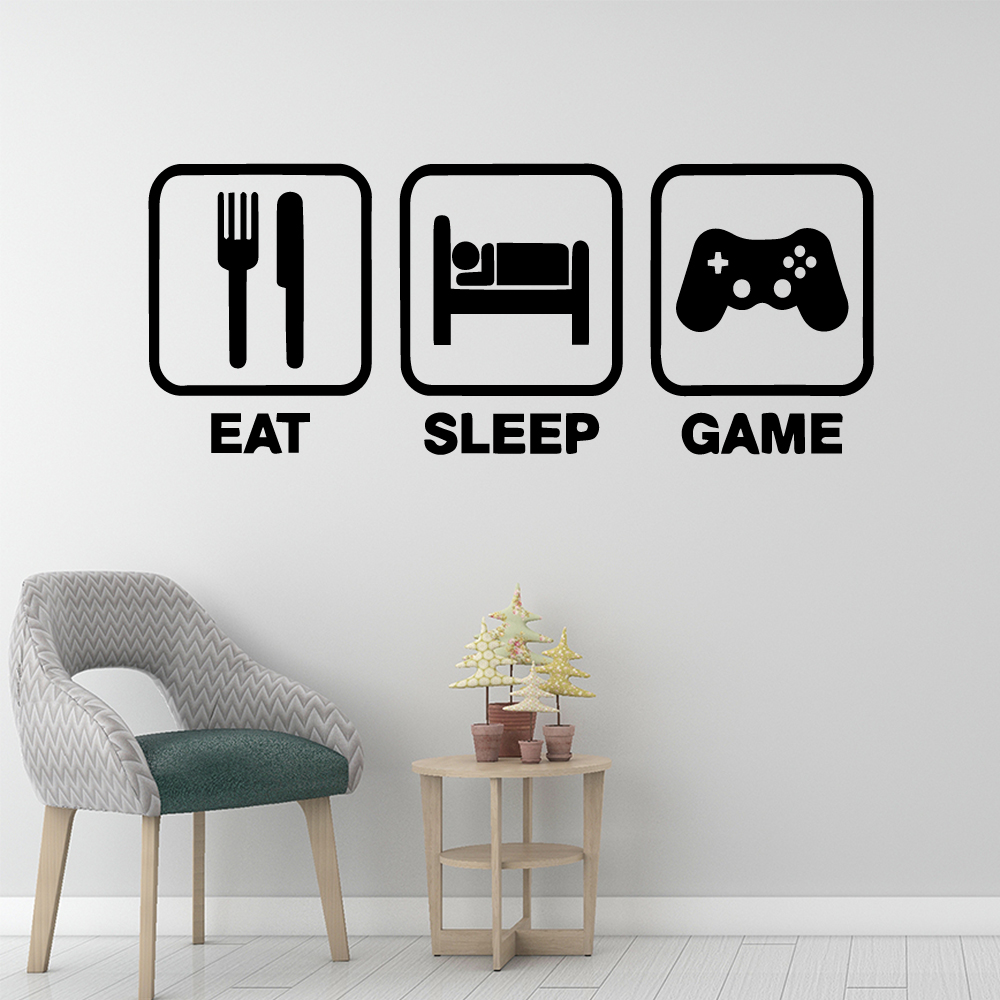 Diy Eat Sleep Game Wall Stickers Home Decoration for Living Room Company School Office Decoration Diy Pvc Home Decoration in Wall Stickers from Home Garden