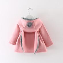 Bébé filles veste manteau oreille de lapin à capuche infantile hiver automne survêtement vestes rose/rouge/gris manteaux enfants vêtements bébé vêtements