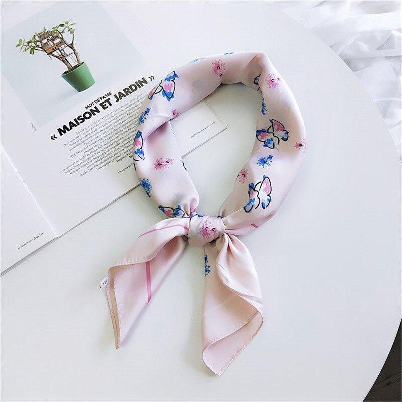 70*70cm New Elegant Women Silk Head Neck Feel Satin Scarf Skinny Retro Hair Tie Band Small Fashion Square Scarf Wrap Bandana