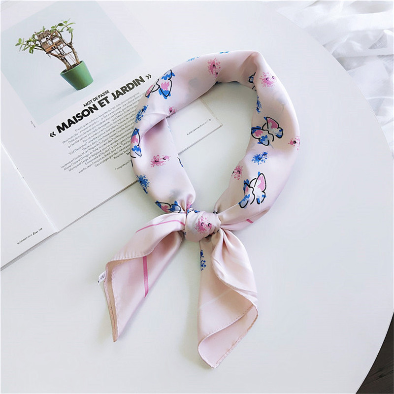 70*70cm New Elegant Women Silk Head Neck Feel Satin   Scarf   Skinny Retro Hair Tie Band Small Fashion Square   Scarf     Wrap   Bandana