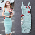 New 2016 summer luxury brand runway women Sheath bodycon dress sexy floral daisy embroidery appliques dresses Italian NS375