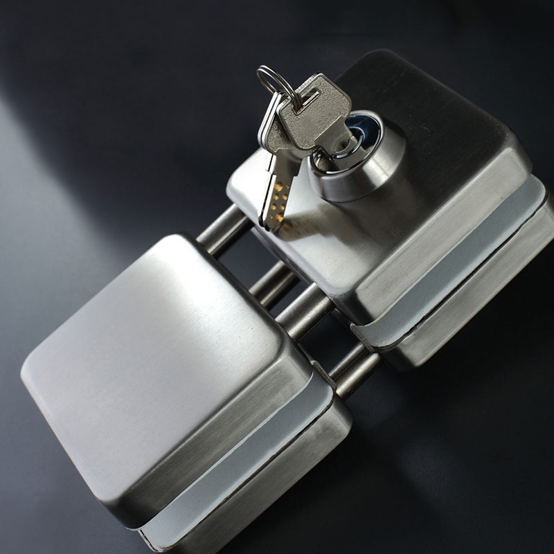 High Quality SUS304 Stainless Steel 10 12mm Glass Door Lock Double Swing Hinged Frameless Door No