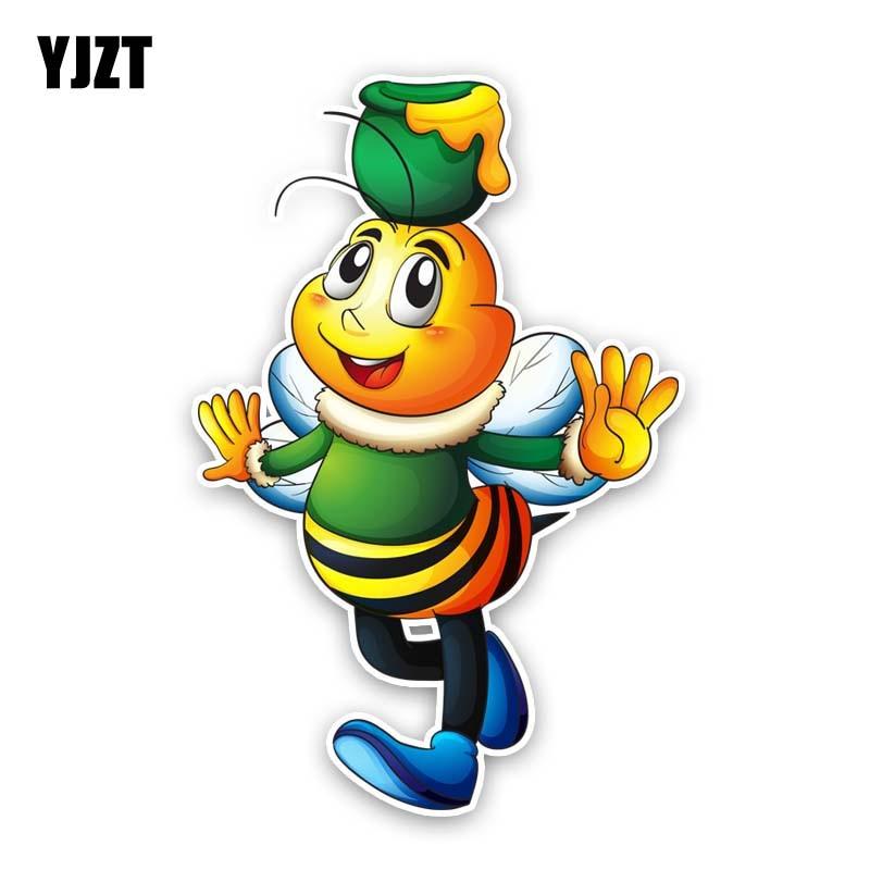 YJZT 9.2CM*13.8CM Bees Top The Honey Jar Decorate PVC Car Sticker Decal 12-300687