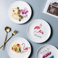 Creative Ceramic Plate Flamingo Pattern Western Steak Noodles Dessert Dishes Plates Round Storage Trays Home Decoration 20cm