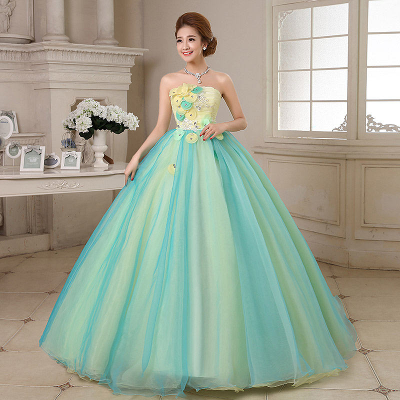 Mint Green Quinceanera Dresses Ball Gowns Strapless Off Shoulder ...