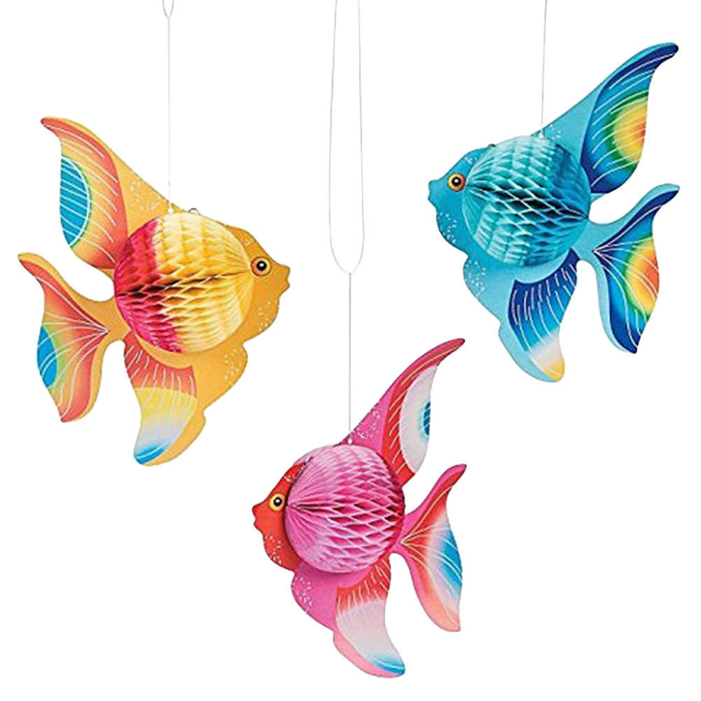 6pcs Multicolor Colorful Tissue Paper Goldfish Tropical Fish Sea Creatures Hanging Foldable Party Supplies Ornament Decoration