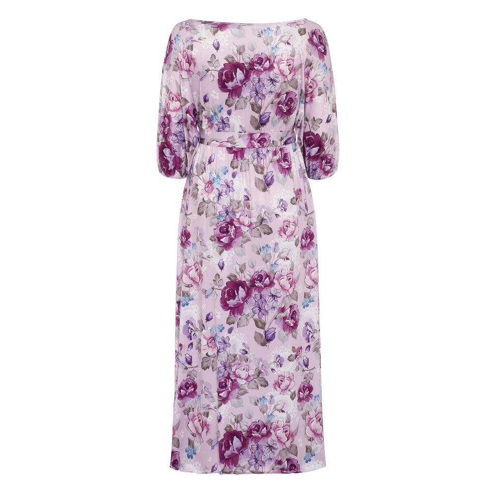 527e7e4d1e5a4 Sisjuly Purple Pink Gray Vintage Floral Maxi Dresses For Women Half Sleeve  Slash Neck Belt Flower Loose Long Autumn Dress-in Dresses from Women's ...