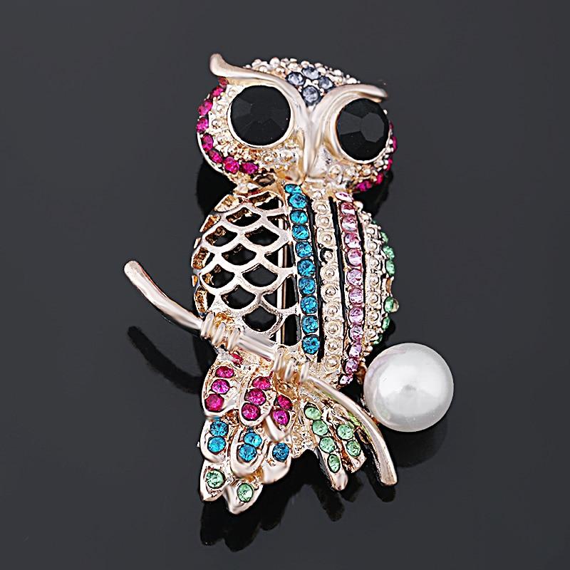Baiduqiandu Jenama Multi Warna Crystal Rhinestones Cute Owl Kerongsang untuk Wanita