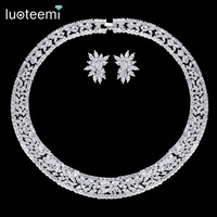 LUOTEEMI New Luxurious Gorgeous Micro Paved Crystal Cubic Zirconia Flower Earrings Necklace Chocker Bridal Wedding Jewelry Sets