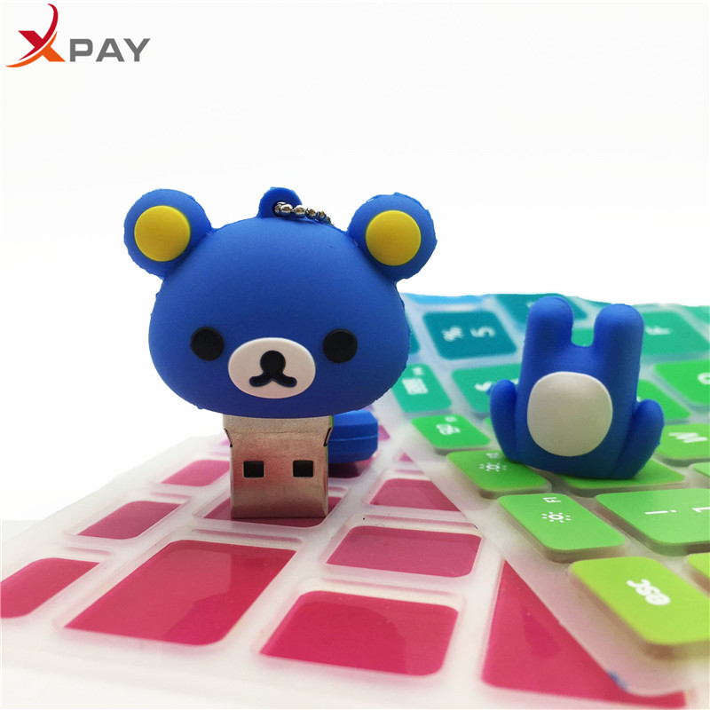Image 2 - USB 2.0 Lovely Cartoon Bear Pendrive 128GB 64GB 32GB 16GB 8GB 4GB USB flash memory stick Pen Drive Silicone flash disk for gift-in USB Flash Drives from Computer & Office