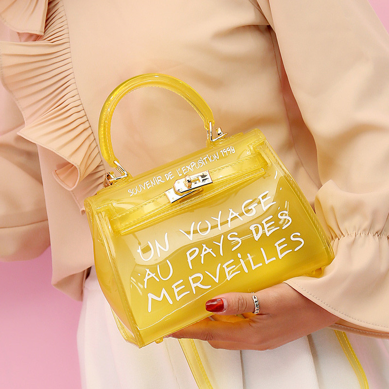Satchel Handbag Women Bag Clear Jelly Transparent PVC Bag Candy Color Tote  Bag Designer Purse Bolsa Crossbody Bag Free shipping-in Top-Handle Bags  from ... 4f9d41b240ca9