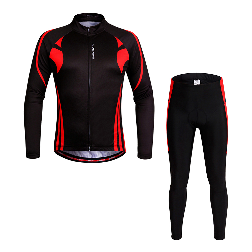 WOSAWE Long Sleeves Cycling Jersey pants suit men Tights road Bike Bicycle Long trouses Hip Protective Padded cycling clothing