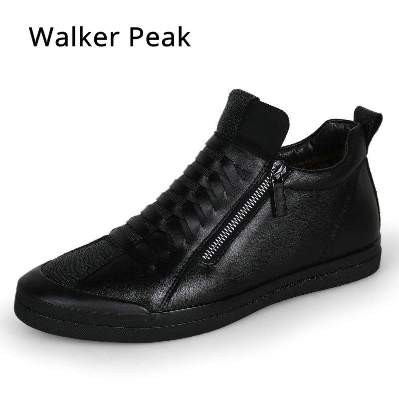 Mens chaussures mode casual designer véritable chaussures en cuir pour hommes Slip sur mocassins Noir sneakers Hiver Automne hommes de chaussures marque