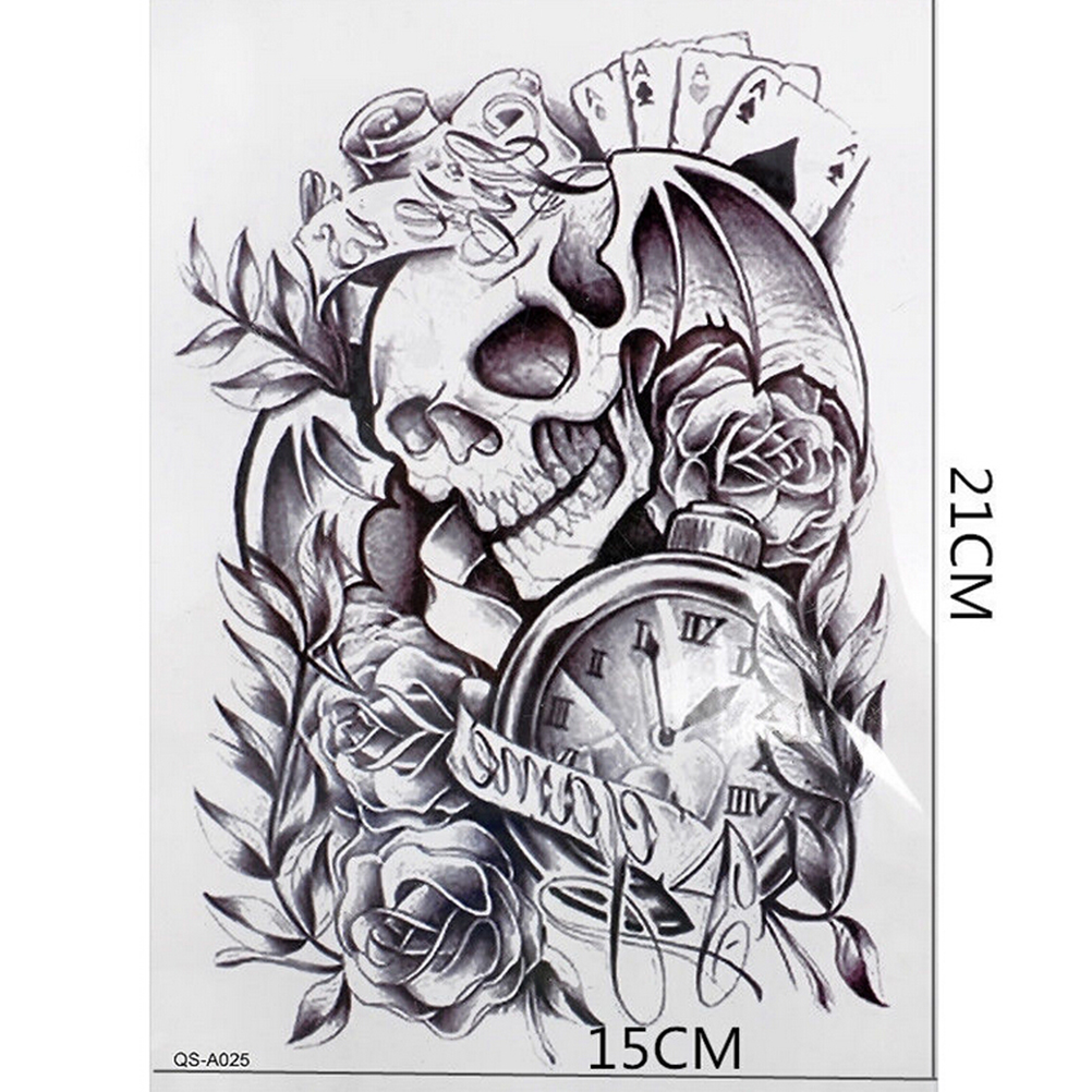 1pc Makeup Old Clock Temporary Tattoo Stickers Death Skull Punk Rose