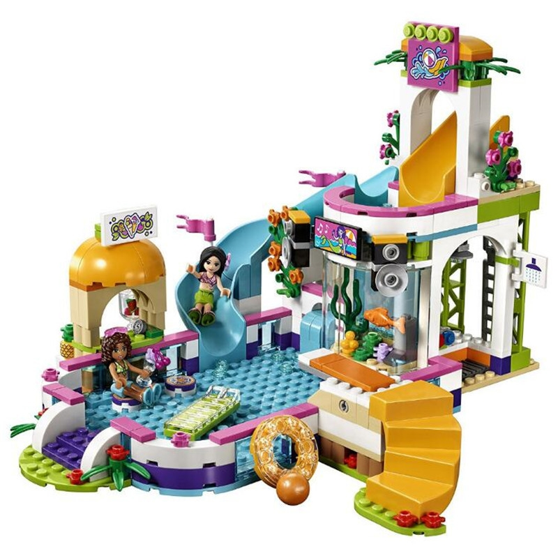 Friends Serie The Heartlake Summer Pool Building Blocks Bricks Toy for Girls Compatible with Legoingly 41313 for Children Gifts lepin building blocks model 01013 compatible legoing friends summer swimming pool 41313 educational toys for children