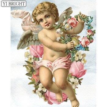 Penuh Persegi/Putaran bor Berlian lukisan 5D DIY Berlian bordir Cross stitch malaikat dengan bunga Berlian mosaic Rhinestone A628