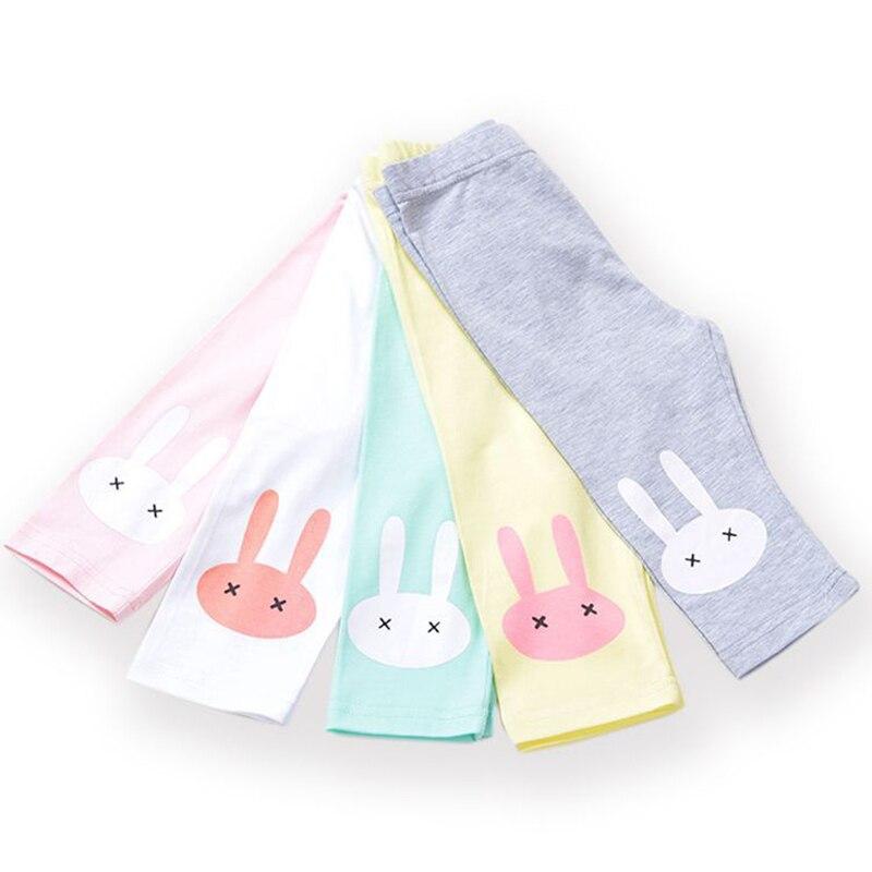 3-10years Rabbit Footless Girls Knee Length Pants Kid Five Pants Trousers Cropped Children Modal Cotton Leggings Summer Bottoms 5