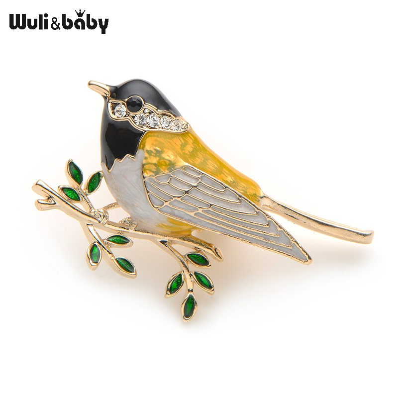 Rhinestone Emalje Oriole Bird Brooches Menn Kvinner Alloy Bird Branch Brosje Pins Suits Kjole Bankett Brosje High Quality Gift