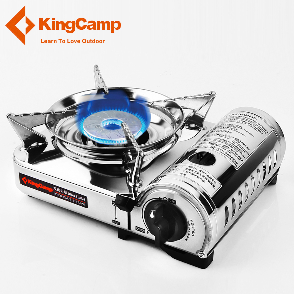 KingCamp Portable Camping Stove Stainless Steel Oven Gas Stove Outdoor Cookware for Backpacking Hiking Traveling Picnic BBQ point break outdoor camping cookware portable picnic stoves gas stove oven split type cs g18