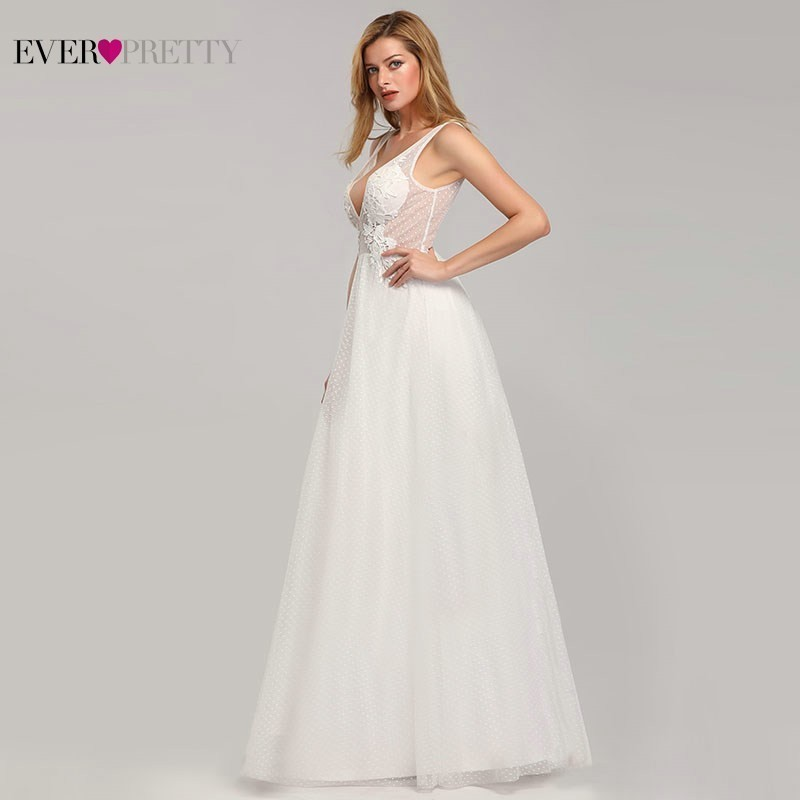 Image 3 - Wedding Dress Tulle New Sexy Deep V neck A line Backless Sleeveless Lace Appliques Simple Beach Wedding Gowns 2019 Robe Noiva-in Wedding Dresses from Weddings & Events