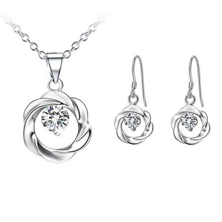 2015 New Fashion Jewelry Cubic Zirconia Mặt Dây Vòng Cổ Bông Tai Bạc Mạ Cho Phụ Nữ Châu Phi Đám Cưới Đặt