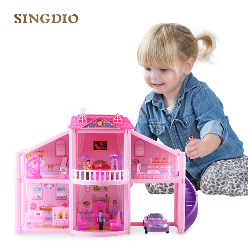 New diy pink assembled luxury villa simulation dollhouse toy miniatures accessories living room furniture set cute