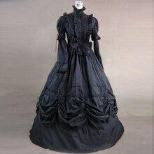 Черный с длинным рукавом Готический викторианский период праздничное платье принцессы Ретро хлопок Европейский суд Бальные вечерние платья костюм на Хэллоуин