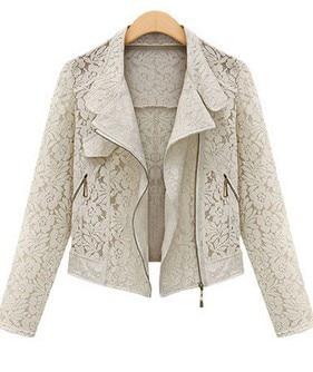 GOPLUS Полный Рукавом Кружева Выдалбливают Куртки для Женщин Весна осень Полупальто Платья Белый Черный Кружева Верхней Одежды Молния C0139