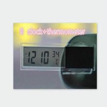 LCD automobile clock car digital thermometer with Sucker