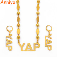Anniyo Micronesia YAP Island Jewelry Sets Ball Beads Necklace Earrings sets for Women Gold Color Jewelry Stainless Steel #075721(China)