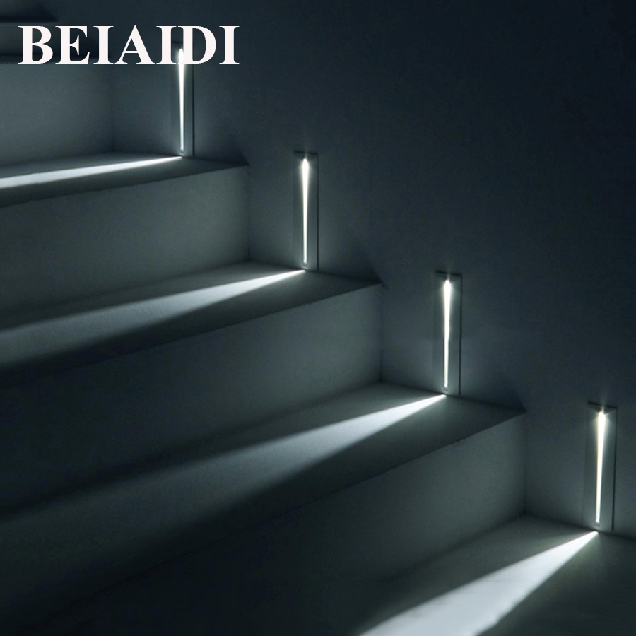 BEIAIDI 4pcs 3W Modern Recessed Led Stair Light Indoor Led Wall Sconce Corner Light Cree Chip Stairs Step Hallway Staircase lamp