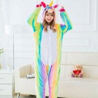Adults Casual Cartoon Cute Flannel Hooded Pajamas Sets Cosplay Rainbow Pegasus Animal Onesies Sleepwear For Unisex