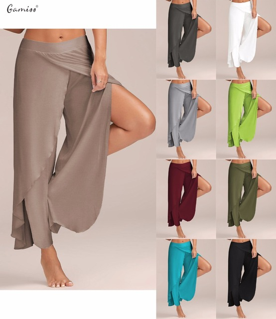 Gamiss Women Pant Sexy High Split Mid Waist Wide Leg Pants Flowy Female  Women Trousers Casual Summer Beach Long Loose Harem Pant 6cafb76ef500