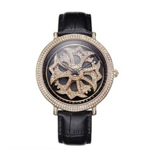 MATISSE Fashion Lady Full Crystal Rotatable Dial Buiness Quartz Watch Wristwatch Black
