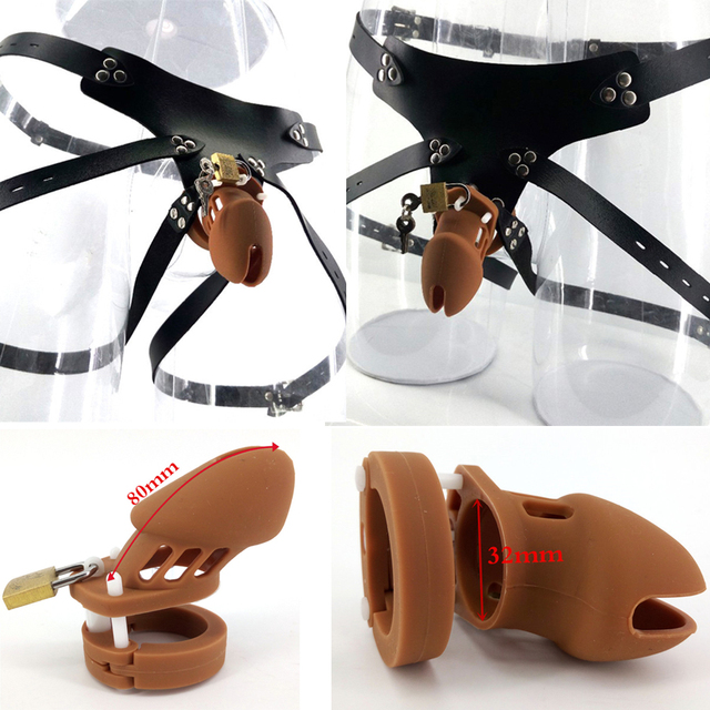 Promotion 80*32mm brown silicone cock cage strap on male chastity toy adult men strapon CB6000S sex product fashion penis sleeve