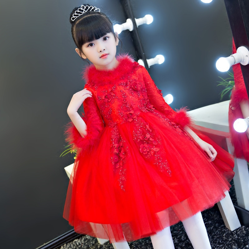 New Autumn Winter Red Color Flowers Princess Lace Wedding Birthday New Year Ball Gown Dress For Children Girls Kid Dancing Dress nicbuy girl s autumn winter dress 2017 new children add velvet and lace princess fashion dress red blue