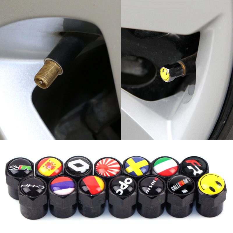 4pcs Carbon Black Car Motorcycle Bicycle Wheel Tire Valve Cap Tyre Dust Cap For Mazda MS Seat FR Opel OPC Skoda Vrs Accessories