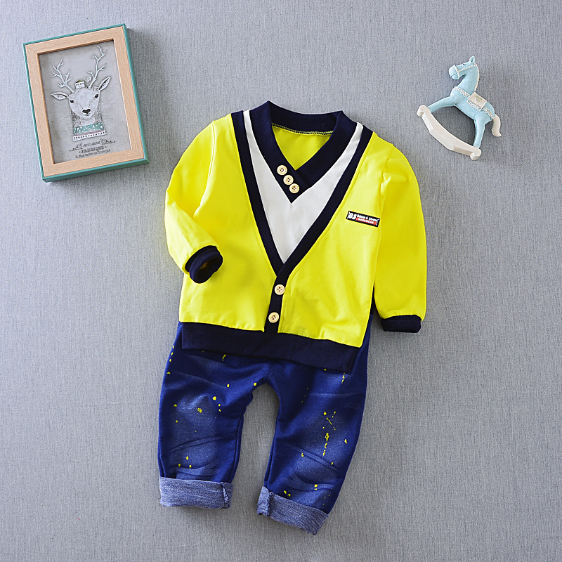 2017 Spring New Boy Fashion Suits Solid T-shirt and Cowboy Pants 2 Sets of Children's Wear Set Fake Two-piece V-neck Cowboy Suit kimocat boy and girl high quality spring autumn children s cowboy suit version of the big boy cherry embroidery jeans two suits