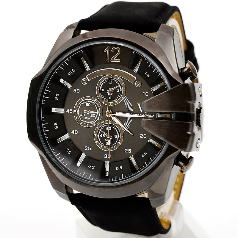 Luxury Men Watches Analog Sport Clock Waterproof Steel Case Quartz Dial Leather Wrist Watch wholesale