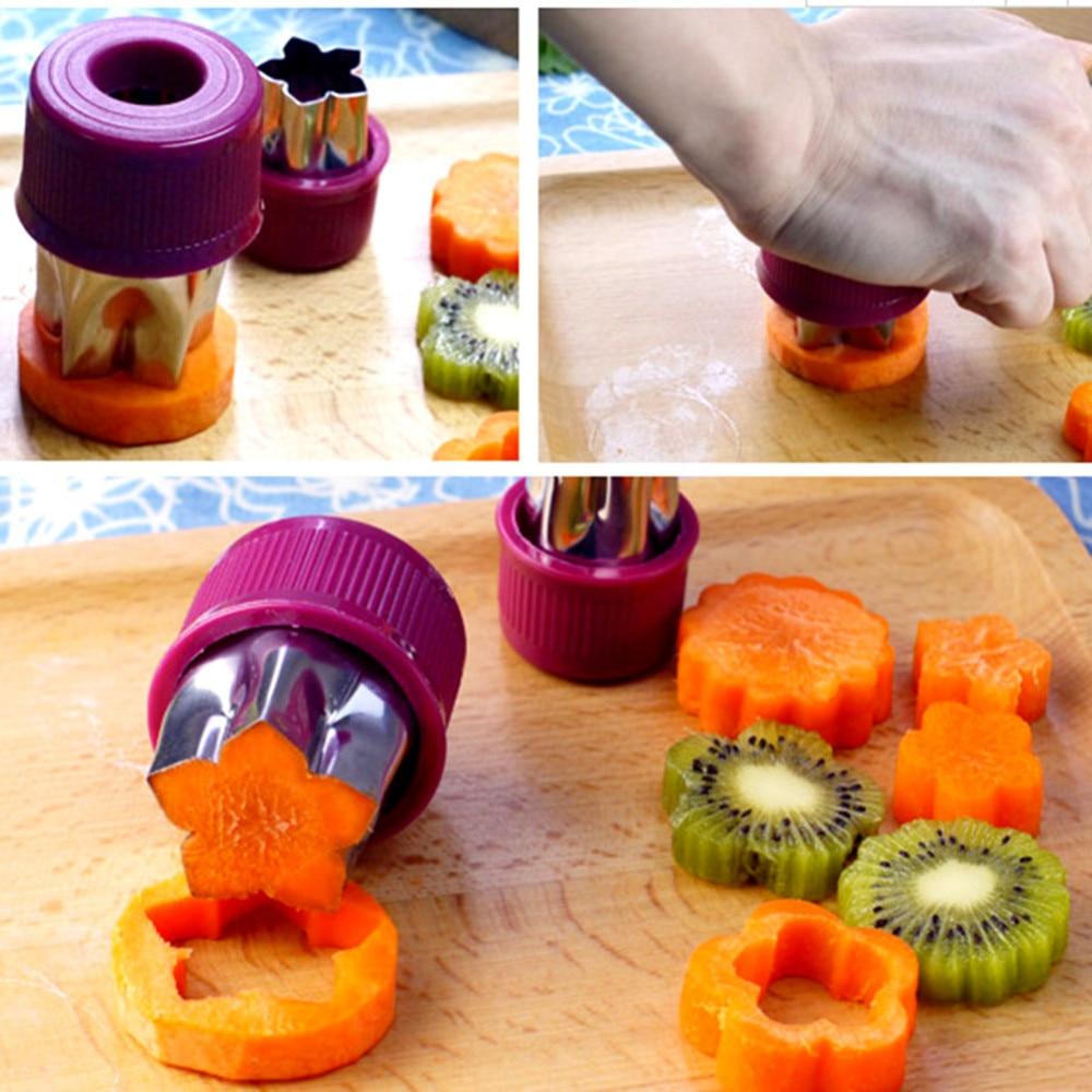 8 Pcs Set Sayuran Buah Cutter Bunga Bintang Bentuk Cookie Cetakan Bento Food Vegetable Mold Sushi Paket Termasuk 1 Slicer Ada Ritel