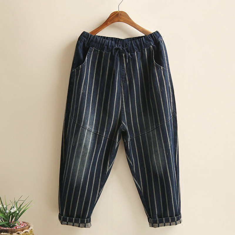 Vintage Elastic Waist Jeans Woman 2019 Spring Autumn Fashion Boyfriend Loose Jeans For Women Striped Denim Pants Female Trousers in Jeans from Women 39 s Clothing