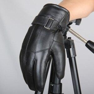 Image 2 - MPPM Hot Sale Men sheepskin gloves genuine leather glove for men winter Outdoor warm fur thickening thermal patchwork gloves