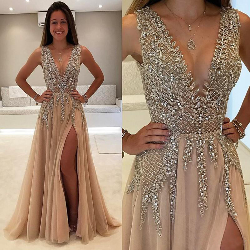 Long Champagne   Prom     Dresses   2019 Sexy V neck Split Evening Gowns Formal Tulle Beaded A Line Evening   Dress   vestidos de fiesta