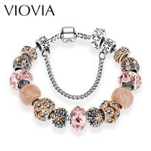 Viovia Silver Charm Bracelet Bangles For Women Whole Fashion Jewelry Fit Original Bracelets Pulseira B15168