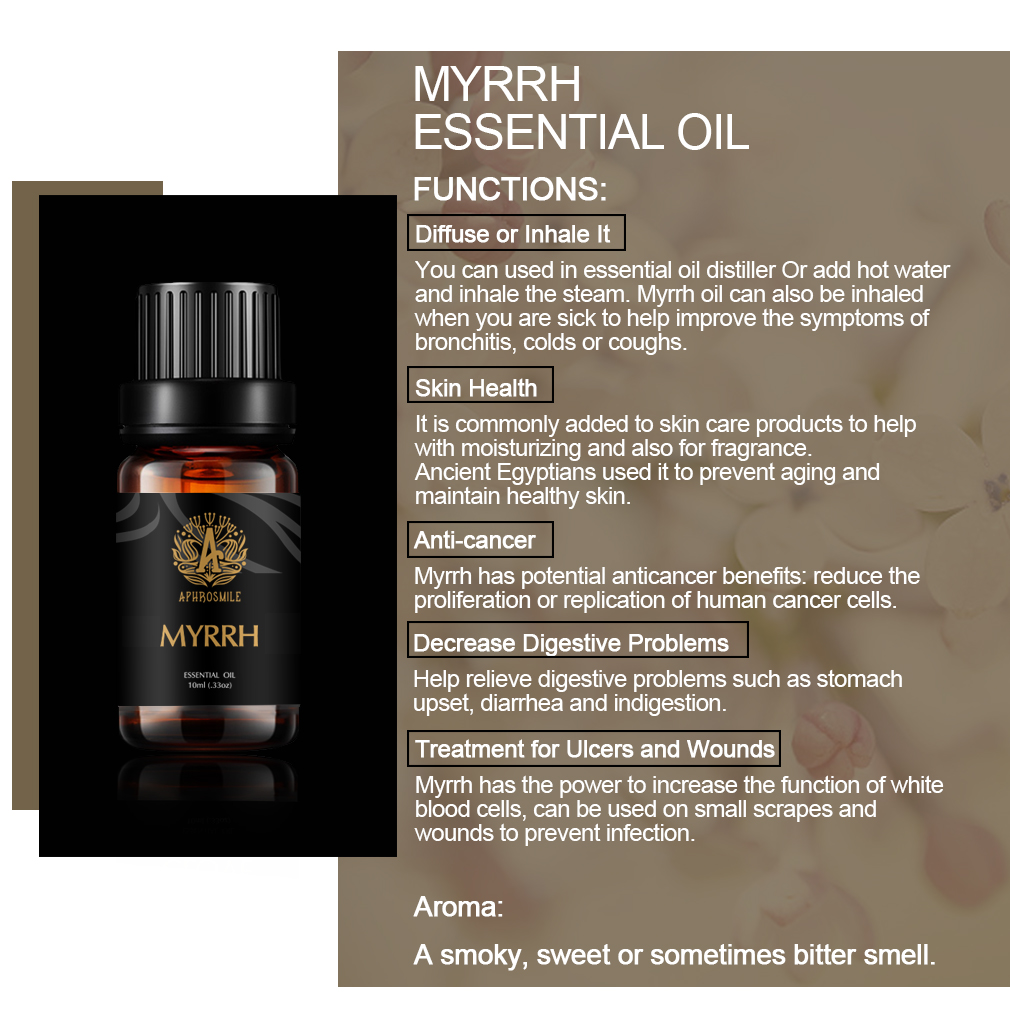 10-flavors Plant Essential Oils Bergamot Ylang Skin Care Oil Water-soluble Vanilla Myrrh Aroma Oil 10ml Relieve Anxiety